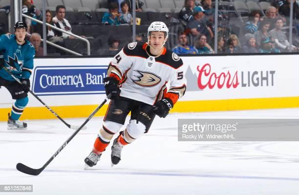 Antoine Morand of the Anaheim Ducks skates against the San Jose Sharks at SAP Center on September 19 2017 in San Jose California