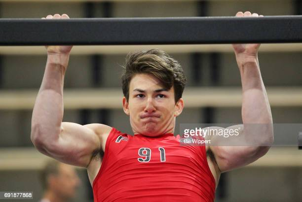 Antoine Morand perfroms PullUps during the NHL Combine at HarborCenter on June 3 2017 in Buffalo New York