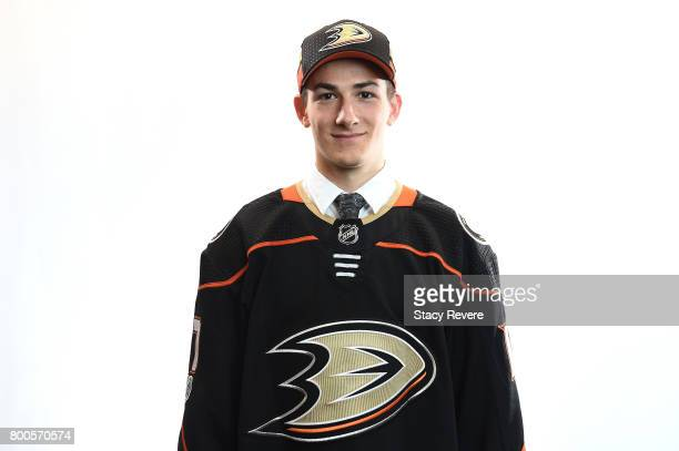 Antoine Morand poses for a portrait after being selected 60th overall by the Anaheim Ducks during the 2017 NHL Draft at the United Center on June 24...