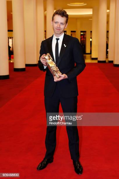 Antoine Reinartz poses with his Best Second Role Actor Cesar Award during Cesar Film Awards 2018 at Salle Pleyel on March 2 2018 in Paris France
