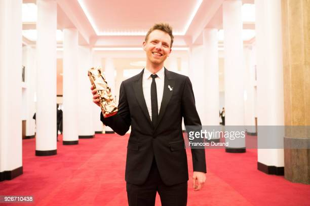 Antoine Reinartz poses with the Cesar award for Best Supporting Actor for '120 Battements par minute' during the 43rd edition of the Cesar Awards...