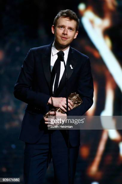 Antoine Reinartz receives the Best Second Role Actor Award for the movie '120 BPM' during the Cesar Film Awards 2018 at Salle Pleyel on March 2 2018...
