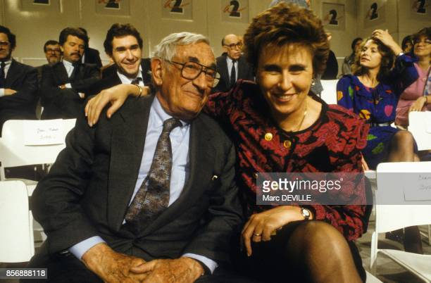 Antoine Riboud businessman and founder of Danone with politician Edith Cresson at 'L Heure de verite' French political tv show on January 23 1990 in...
