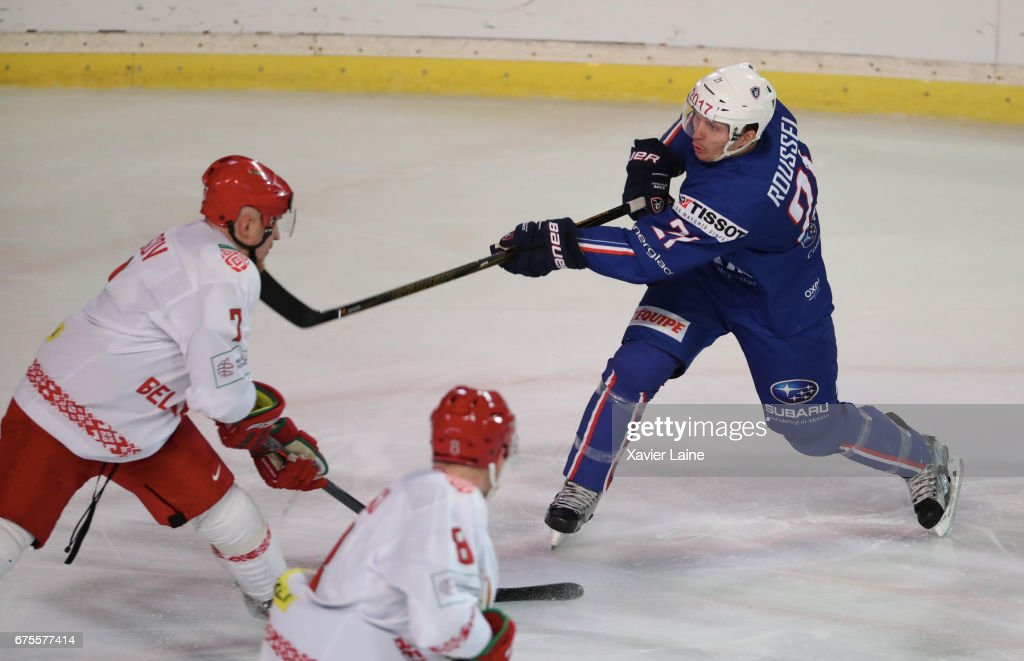 Antoine Roussel of France in action during the Ice Hockey Friendly match between France and Belarus at Patinoire Meriadeck on May 1, 2017 in Bordeaux, France.
