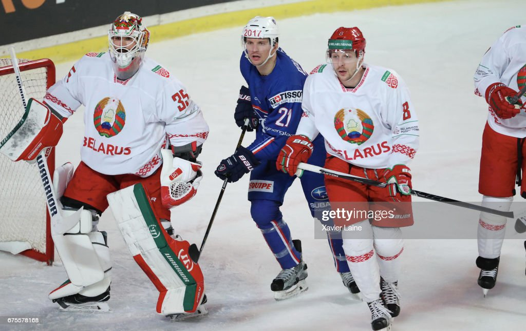 Antoine Roussel #21 of France in action during the Ice Hockey Friendly match between France and Belarus at Patinoire Meriadeck on May 1, 2017 in Bordeaux, France.