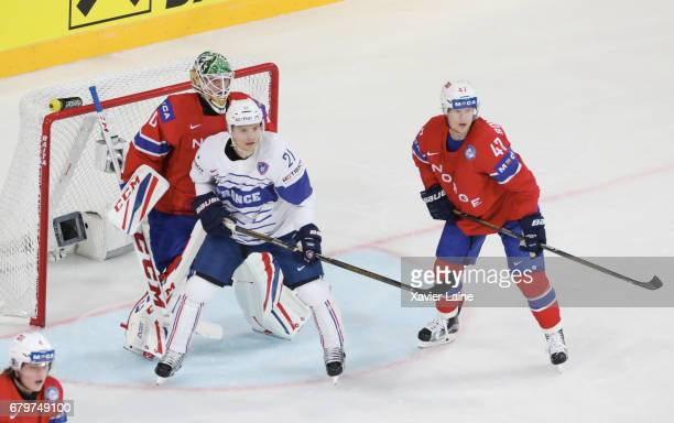 Antoine Roussel of France in action with Alexander Bonsaksen of Norway during the 2017 IIHF Ice Hockey World Championship game between Norway and...