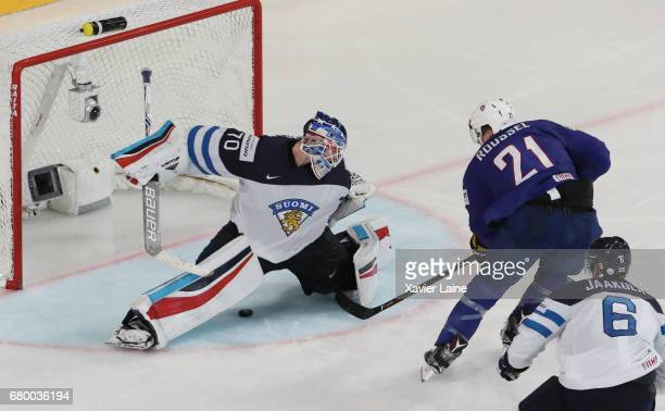 Antoine Roussel of France scores a goal during the 2017 IIHF Ice Hockey World Championship game between Finland and France at AccorHotels Arena on...