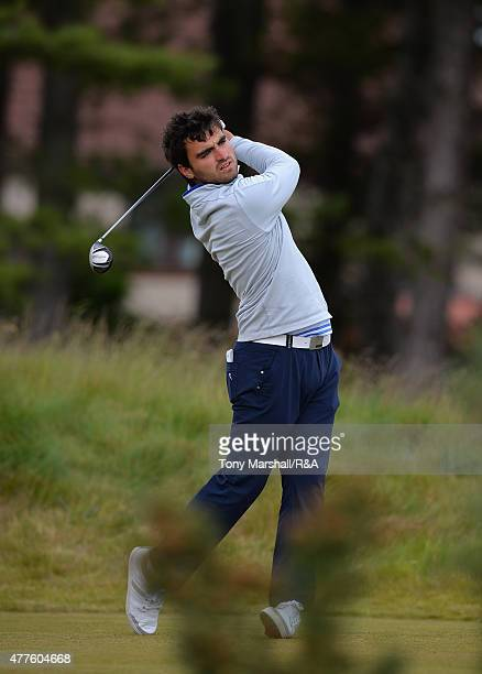 Antoine Rozner of France plays his first shot on the 12th tee during The Amateur Championship 2015 Day Four at Carnoustie Golf Club on June 18 2015...