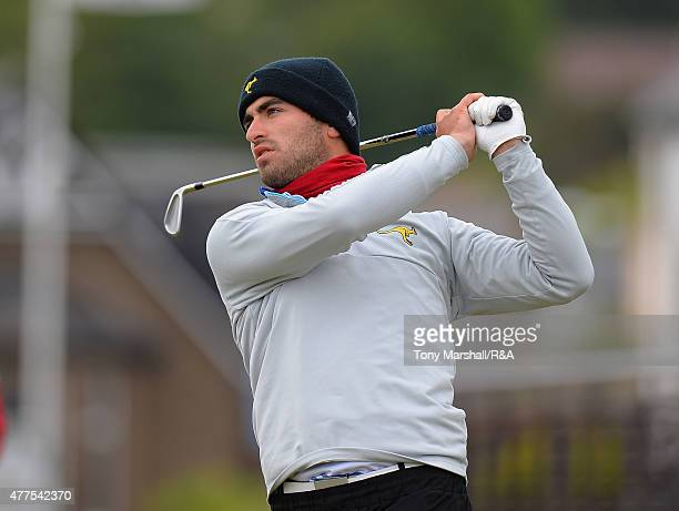 Antoine Rozner of France plays his first shot on the 1st tee during The Amateur Championship 2015 - Day Four at Carnoustie Golf Club on June 18, 2015...