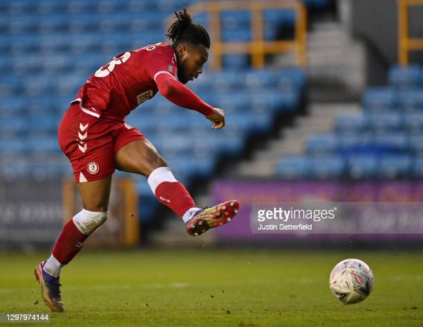 Antoine Semenyo of Bristol City scores their side's third goal during The Emirates FA Cup Fourth Round match between Millwall and Bristol City at The...