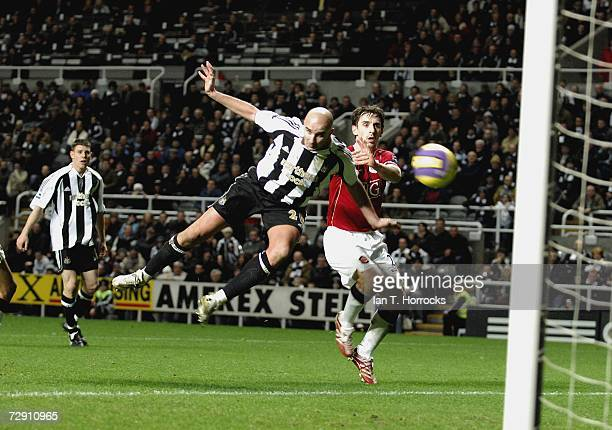 Antoine Sibierski heads towards goal during the Barclays Premiership match between Newcastle United and Manchester United at St James' Park on...