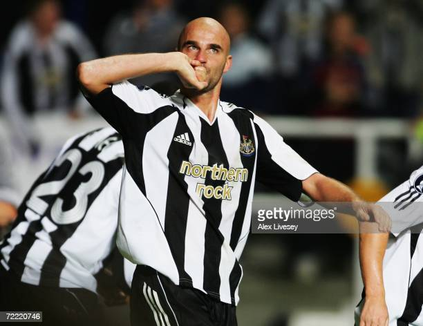 Antoine Sibierski of Newcastle United celebrates scoring his team's first goal during the UEFA Cup Group H match between Newcastle United and...