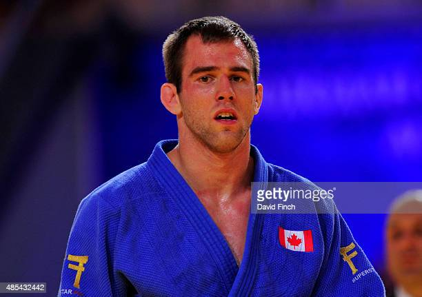 Antoine ValoisFortier of Canada defeated SeungSu Lee of South Korea for the u81kg bronze medal during the 2015 Astana World Judo Championships at the...