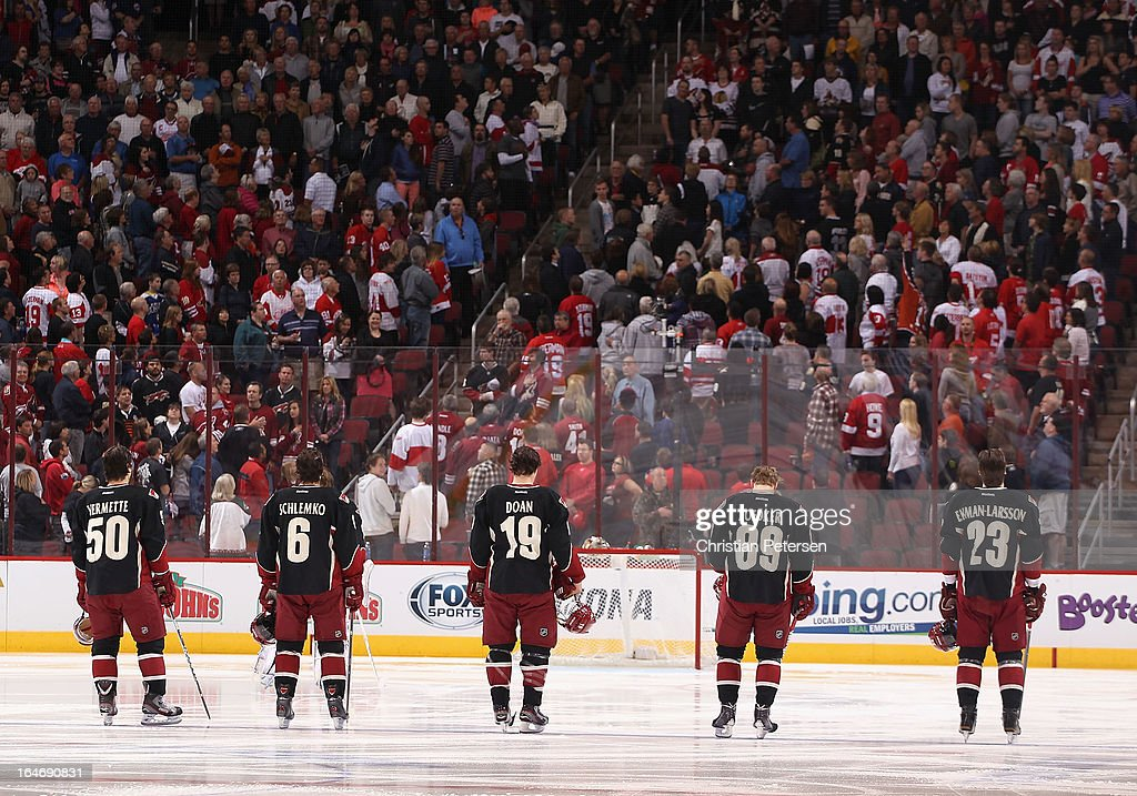 Antoine Vermette #50, David Schlemko #6, Shane Doan #19, Mikkel Boedker #89 and Oliver Ekman-Larsson #23 of the Phoenix Coyotes line up before the NHL game against the Detroit Red Wings at Jobing.com Arena on March 25, 2013 in Glendale, Arizona. The Red Wings defeated the Coyotes 3-2.