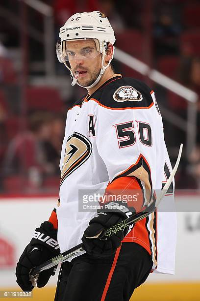 Antoine Vermette of the Anaheim Ducks skates up to a face off during the preseason NHL game against Arizona Coyotes at Gila River Arena on October 1...