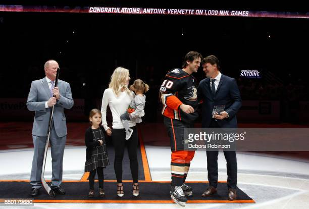 Antoine Vermette of the Anaheim Ducks stands with his wife Karen Vermette his daughters Emilia Vermette in Karen's arms Leonna Vermette standing...