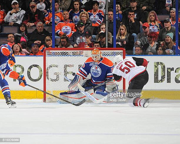 Antoine Vermette of the Arizona Coyotes scores a goal on Cam Talbot of the Edmonton Oilers on March 12 2016 at Rexall Place in Edmonton Alberta Canada