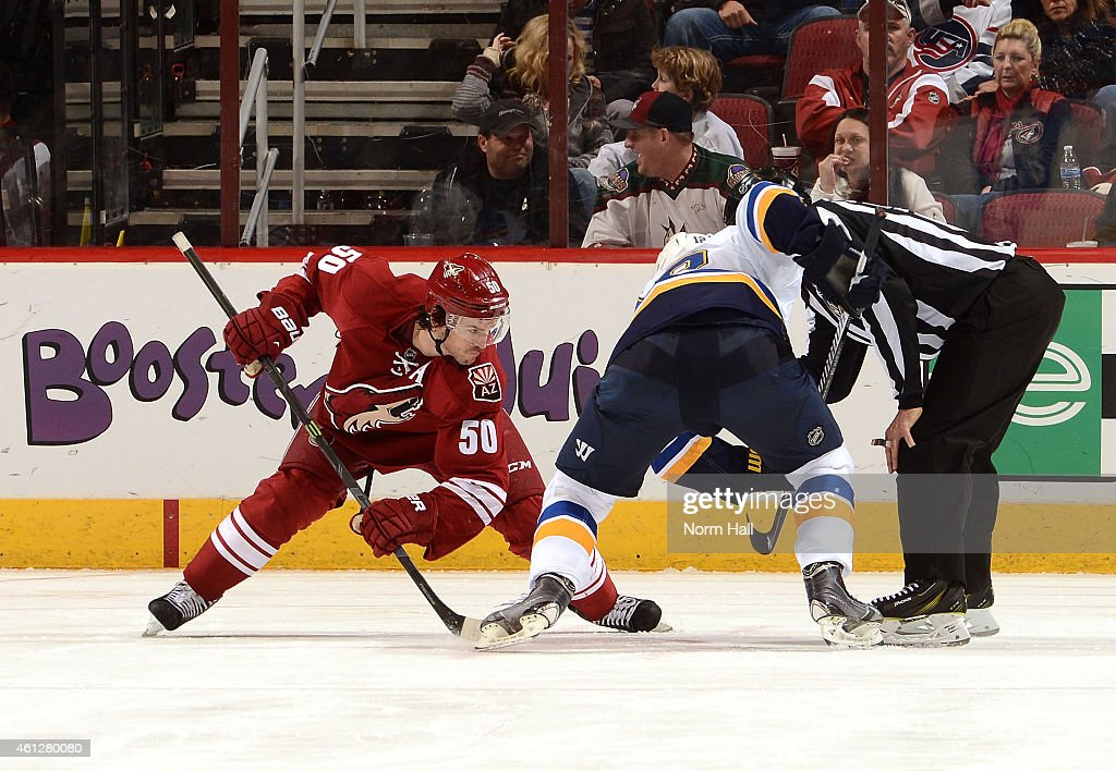 Antoine Vermette #50 of the Arizona Coyotes takes a faceoff against the St Louis Blues at Gila River Arena on January 6, 2015 in Glendale, Arizona.