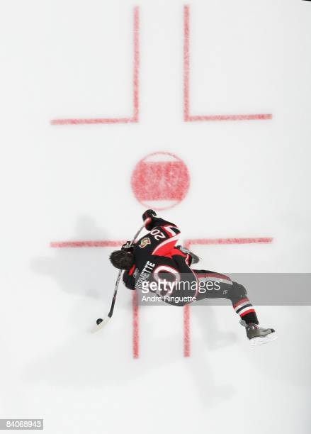 Antoine Vermette of the Ottawa Senators shoots the puck during warmups prior to a game against the Florida Panthers at Scotiabank Place on December 8...