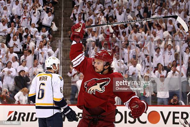 Antoine Vermette of the Phoenix Coyotes celebrates after scoring a first period goal against the Nashville Predators in Game Two of the Western...