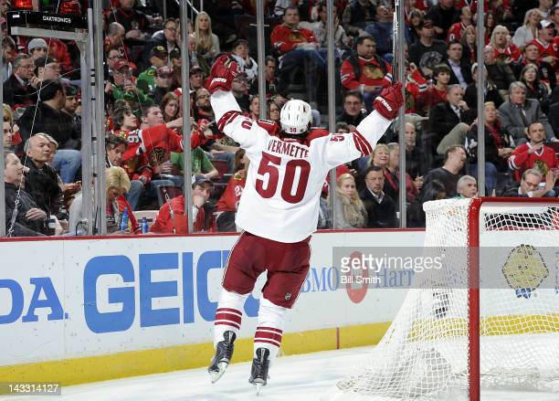 Antoine Vermette of the Phoenix Coyotes reacts after scoring against the Chicago Blackhawks during Game Six of the Western Conference Quarterfinals...