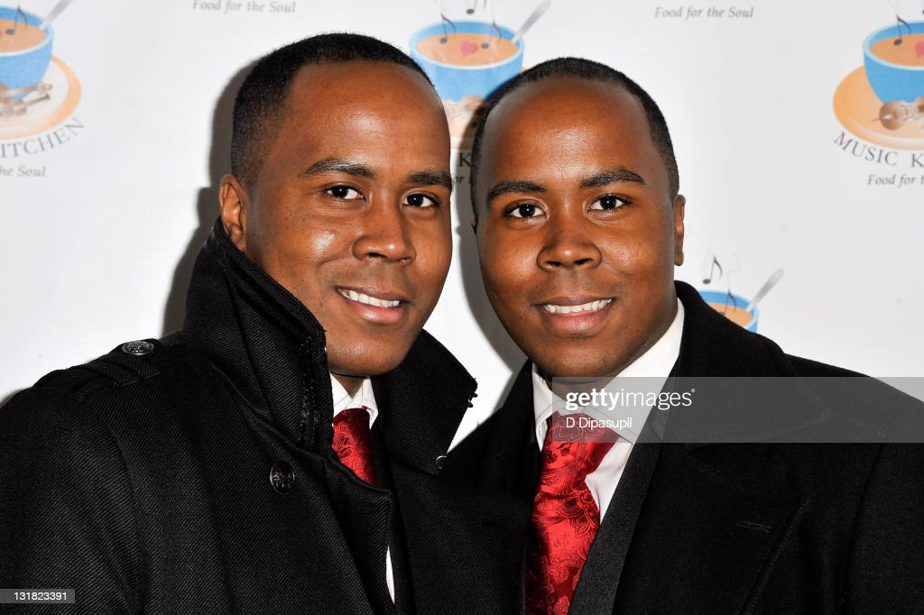 Antoine Von Boozier and Andre Von Boozier (the Von Boozier twins) attend the 2010 Music Kitchen Winter Wonderland gala at Bogardus Mansion on December 21, 2010 in New York City.