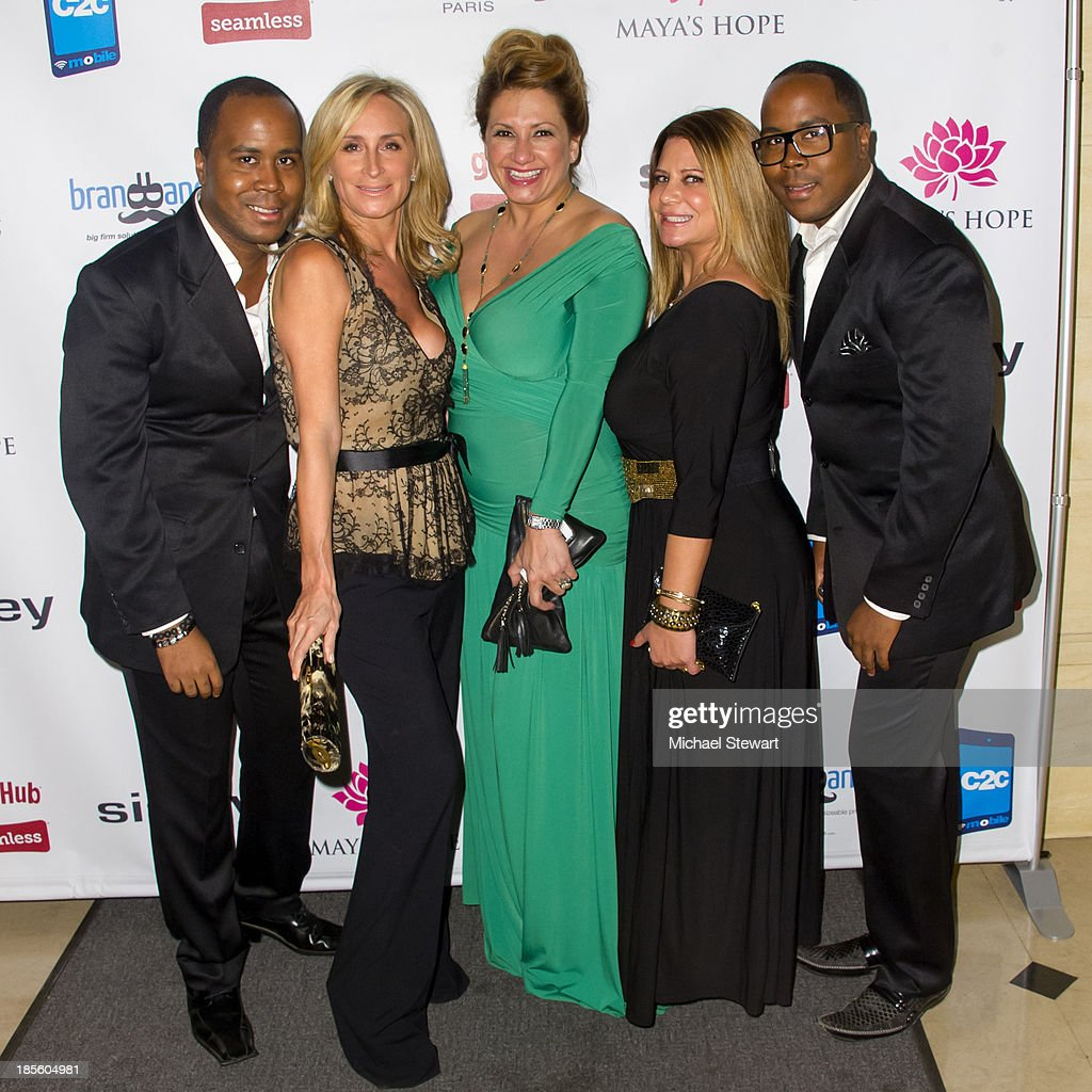 Antoine Von Boozier, Sonja Morgan, Love Majewski, Karen Gravano and Andre Von Boozier attend Maya's Hope Presents: Hope An Evening Of Superstars gala at The Fletcher Sinclair Mansion on October 22, 2013 in New York City.