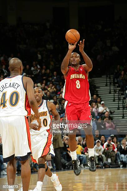 Antoine Walker of the Atlanta Hawks shoots and makes a buzzer beater at the end of the 2nd Qtr against the Golden State Warriors February 23 2005 at...