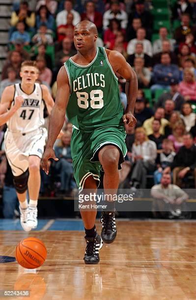 Antoine Walker of the Boston Celtics dribbles against the Utah Jazz on February 25 2005 at the Delta Center in Salt Lake City Utah NOTE TO USER User...
