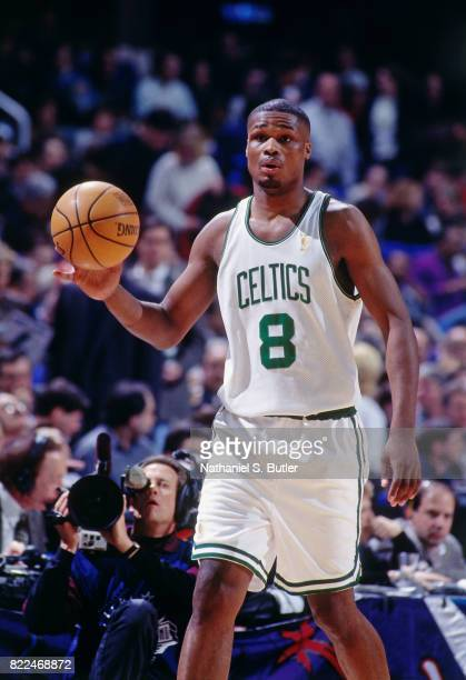 Antoine Walker of the Boston Celtics dribbles during the 1997 Rookie Game played February 8 1997 at the Gund Arena in Cleveland Ohio NOTE TO USER...