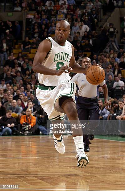 Antoine Walker of the Boston Celtics drives up the court during a game against the Los Angeles Lakers March 2 2005 at the Fleet Center in Boston...