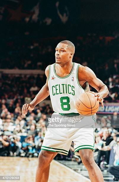 Antoine Walker of the Boston Celtics moves the ball during the 1998 NBA AllStar game on February 8 1998 at Madison Square Garden in New York City