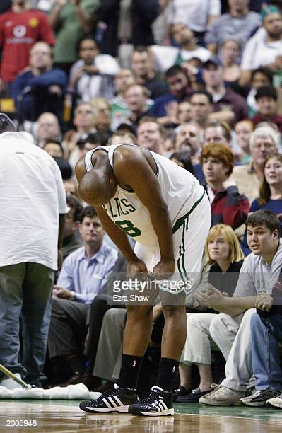 Antoine Walker of the Boston Celtics rests in Game four of Eastern Conference Semifinals against the New Jersey Nets during 2003 NBA Playoffs at the...
