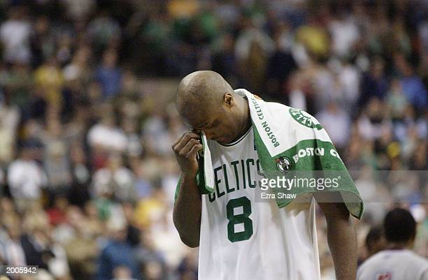 Antoine Walker of the Boston Celtics scratches his head in Game four of Eastern Conference Semifinals against the New Jersey Nets during 2003 NBA...