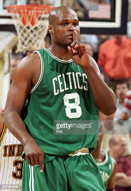 Antoine Walker of the Boston Celtics silences the crowd after he sunk a shot in Game six of the Eastern Conference Quarterfinals during the 2005 NBA...
