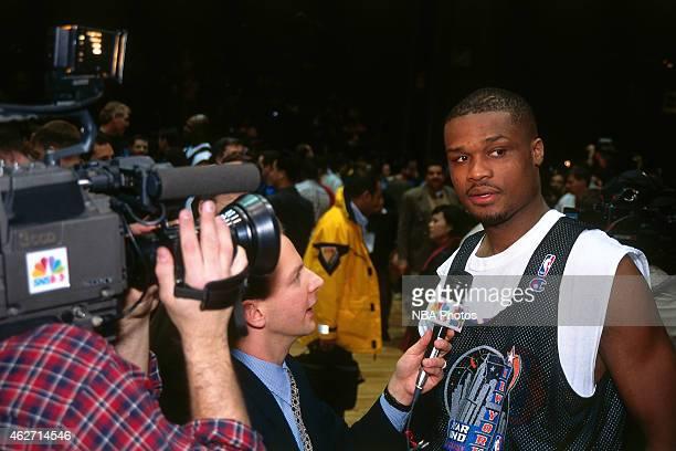 Antoine Walker of the Boston Celtics talks to the media during NBA AllStar Practice on February 7 1998 at Madison Square Garden in New York City NOTE...