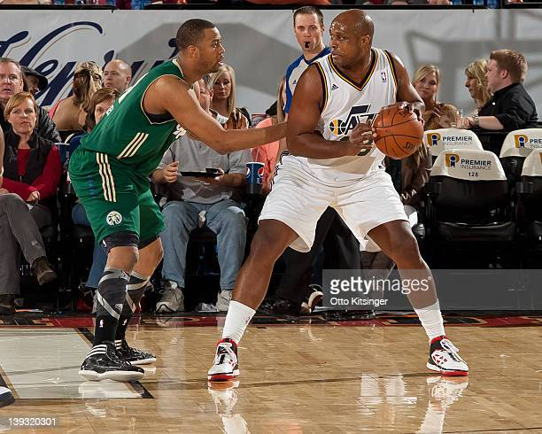 Antoine Walker of the Idaho Stampede defends the ball against David Palmer of the Reno Bighorns on February 18 2012 at CenturyLink Arena in Boise...