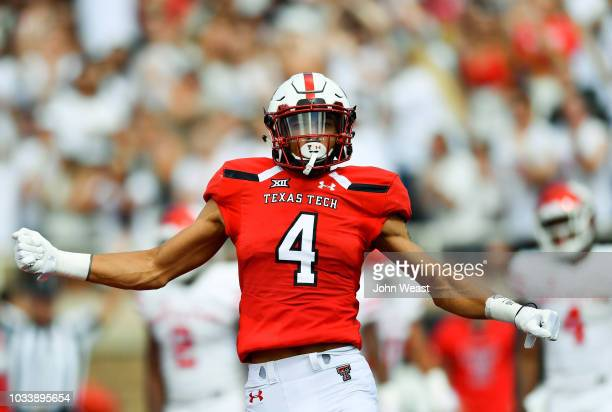 Antoine Wesley of the Texas Tech Red Raiders celebrates a touchdown during the first half of the game against the Houston Cougars on September 15,...