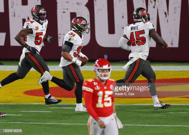 Antoine Winfield Jr. #31 of the Tampa Bay Buccaneers reacts after intercepting Patrick Mahomes of the Kansas City Chiefs in the third quarter in...