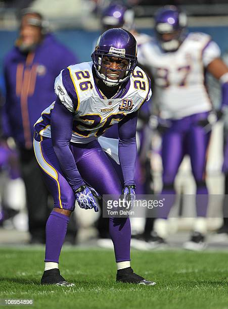Antoine Winfield of the Minnesota Vikings lines up during an NFL game against the Chicago Bears at Soldier Field November 14 2010 in Chicago Illinois...