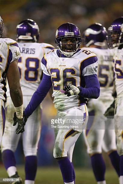 Antoine Winfield of the Minnesota Vikings looks on smiling during a game against the Green Bay Packers on December 21 2006 at Lambeau Field in Green...