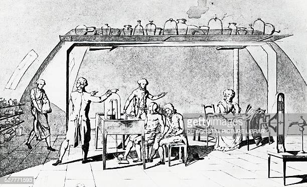 AntoineLaurent de Lavoisier in his laboratory during an experiment on a man's respiration under stress engraving France 18th century Paris...