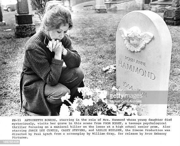 Antoinette Bower visits the grave of her daughter in a scene from the film 'Prom Night' 1980