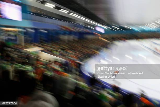 Antoinette de Jong of the Netherlands competes in the 3000m Womens race on day three during the ISU World Cup Speed Skating held at Thialf on...