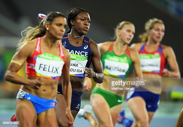 Antoinette Nana Djimou Ida of France competes in the Women's Heptathlon 200 metres on Day 7 of the Rio 2016 Olympic Games at the Olympic Stadium on...