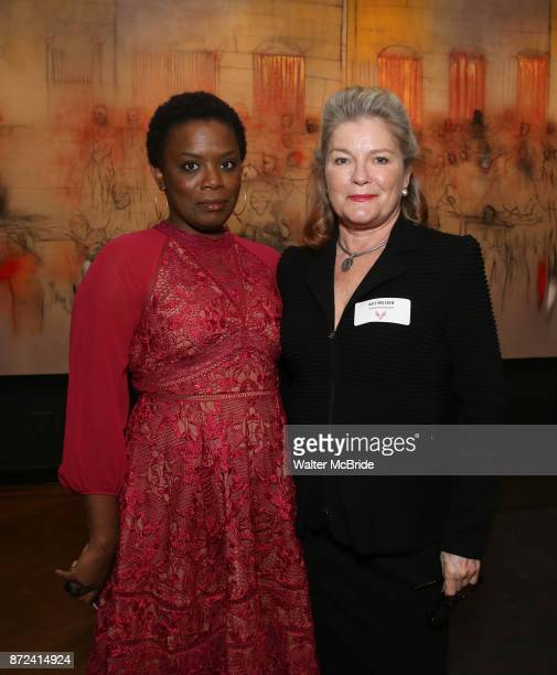 Antoinette Nwandu and Kate Mulgrew attend The Vineyard Theatre's Emerging Artists Luncheon at The National Arts Club on November 9 2017 in New York...