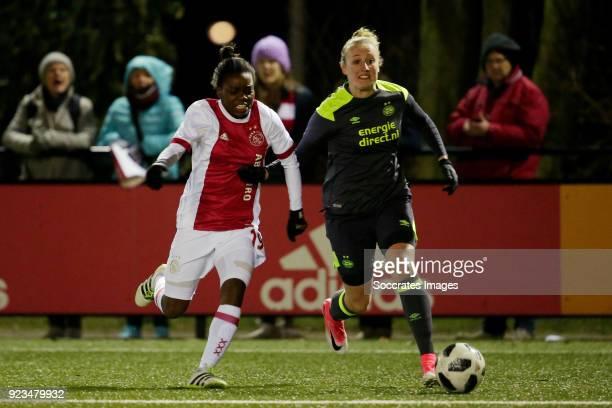 Antoinette Payne of Ajax Women Lucie Akkerman of PSV Women during the Dutch Eredivisie Women match between Ajax v PSV at the De Toekomst on February...