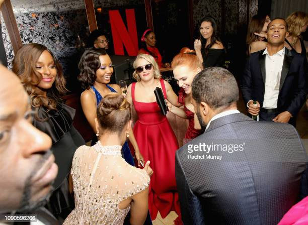 Antoinette Robertson Ashleigh LaThrop Emily Osment Madeline Brewer and O T Fagbenle attend Netflix 2019 SAG Awards after party at Sunset Tower Hotel...