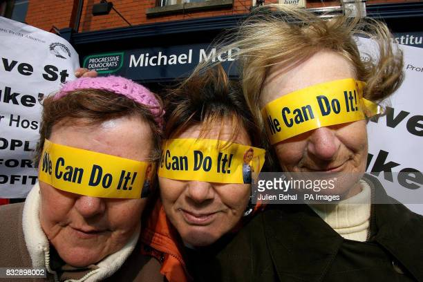 Antoinette Rodgers Marie Harford and Brenda Murray join protestors outside Tanaiste Michael McDowell's constituency office in Ranelagh in support of...