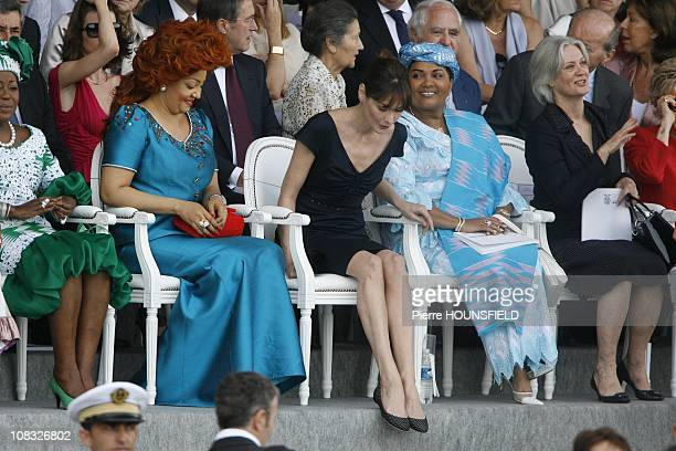 Antoinette Sassou Nguesso Chantal Biya Carla Bruni Sarkozy Chantal Compaore Penelope Fillon in Paris France on July 14th 2010